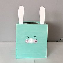 Krabičky - Krabička na servítky- Zajačik (Tyrkysová) - 9700740_