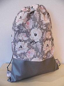 Batohy - Batoh - ruksak -ruže a strieborná eko koža - 9700906_