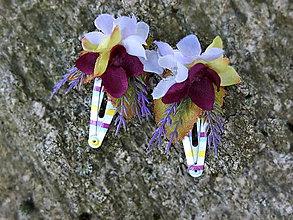 Ozdoby do vlasov - tmavě fialové květinové sponečky - 9700194_