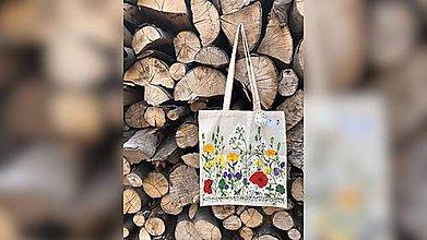 Iné tašky - ♥ Plátená, ručne maľovaná taška ♥ - 9701060_