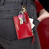 Peňaženky - Kožená kľúčenka/peňaženka MARATHON - červená (Čierna) - 9701191_