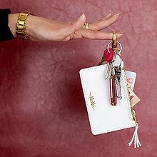 Kľúčenky - Kožená kľúčenka/peňaženka MARATHON - biela (Biela) - 9701033_