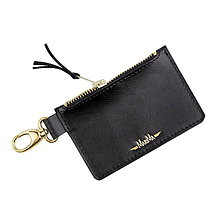 Kľúčenky - Kožená kľúčenka/peňaženka MARATHON - biela (Čierna) - 9701042_