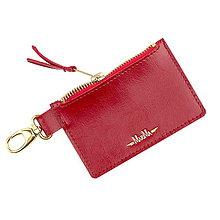 Kľúčenky - Kožená kľúčenka/peňaženka MARATHON - biela (Červená) - 9701047_