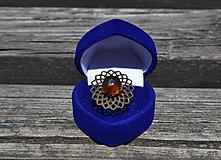 Prstene - Prsteň s jantárom - 9701490_