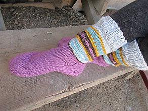 Obuv - sivo-fialové ponožky - 9699281_