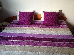 Úžitkový textil - Fialový strapatý rag quilt - 9699171_