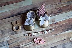 Topánočky - darčekový set pre dieťatko (Zlatá) - 9703146_