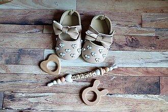 Topánočky - darčekový set pre dieťatko (Béžová) - 9703149_
