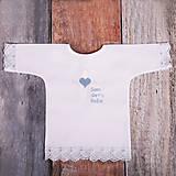 Detské oblečenie - Krstná košieľka - kríž so srdcom (Modrá) - 9702005_