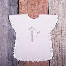 Detské oblečenie - Krstná košieľka - kríž s holubicou (Strieborná) - 9701899_