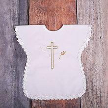 Detské oblečenie - Krstná košieľka - kríž s holubicou (Zlatá) - 9701900_