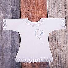 Detské oblečenie - Krstná košieľka - srdce s krížikom 2 (Modrá) - 9701976_
