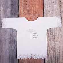 Detské oblečenie - Krstná košieľka - kríž so srdcom (Strieborná) - 9702006_
