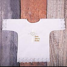 Detské oblečenie - Krstná košieľka - kríž so srdcom (Zlatá) - 9702008_