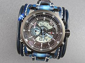 Náramky - Modrý kožený remienok s hodinkami - 9703611_