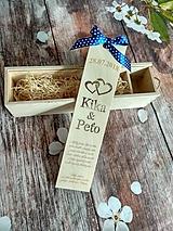 Darčeky pre svadobčanov - Drevená gravírovaná krabica na víno - srdcia - 9703645_