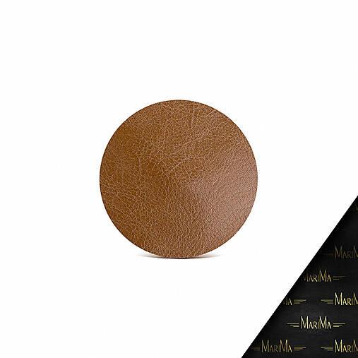 Kožená taštička na zips MARATHON - biela (Hnedá)