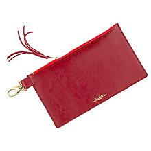 Taštičky - Kožená taštička na zips MARATHON - biela (Červená) - 9702171_