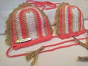 Bielizeň/Plavky - háčkované plavky - z luxusnej priadze pudrový melír - 9703361_
