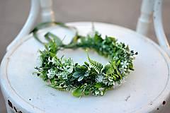Ozdoby do vlasov - Bohatý greenery venček - 9702659_