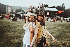 Ozdoby do vlasov - Prírodná bohémska čelenka z peria - 9702785_
