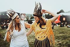 Ozdoby do vlasov - Prírodná bohémska čelenka z peria - 9702786_
