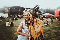 Ozdoby do vlasov - Prírodná bohémska čelenka z peria - 9702788_