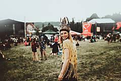 Ozdoby do vlasov - Prírodná bohémska čelenka z peria - 9702790_