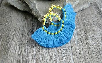 Náušnice - Veľké kruhové náušnice so strapcami (modré č. 2279) - 9702735_