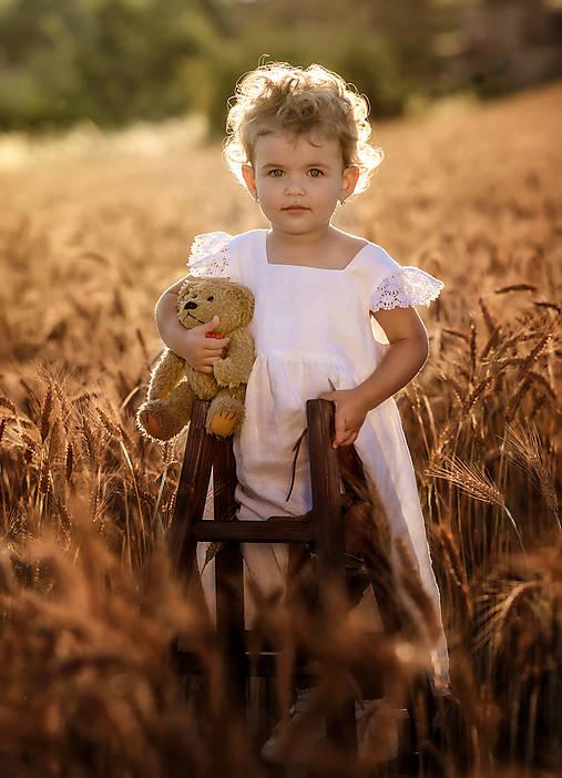 Detské oblečenie - Ľanové šatôčky Liliana (116 - Ružová) - 9703164_