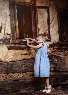 Detské oblečenie - Ľanové šatôčky Amélia (98 - Modrá) - 9703183_