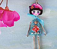 - Živicový náhrdelník bábika, tyrkysový, chirurgická oceľ - 9703295_