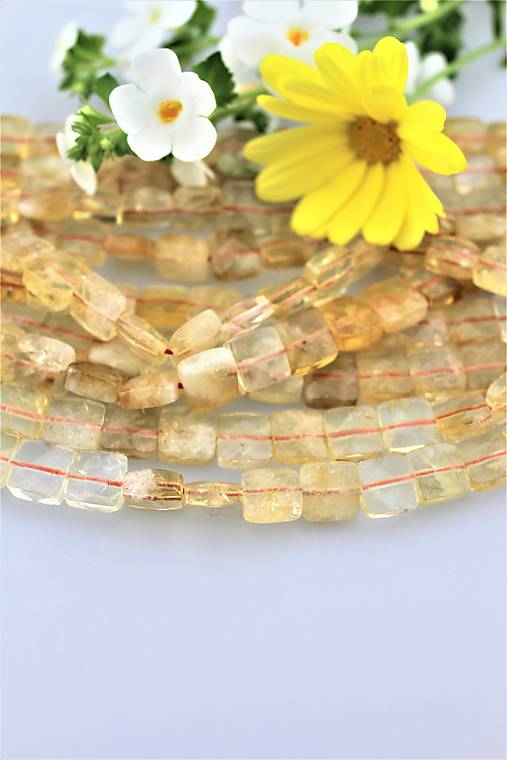 citrín korálky - štvorčeky 10x10mm, brúsené