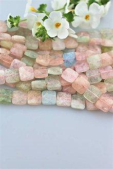Minerály - morganit korálky - štvorčeky 10x10mm, brúsené, cena za 10ks! - 9704661_