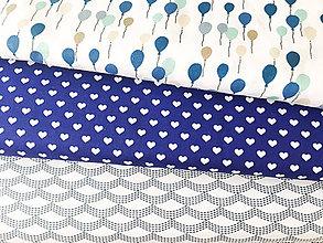 Textil - modré srdiečka, 100 % bavlna Čechy, šírka 140 cm - 9704437_