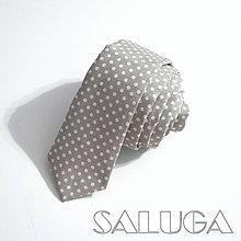 Doplnky - Pánska slim kravata - bodkovaná - sivá - 9705839_