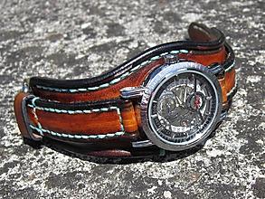 Náramky - Hnedočierny kožený remienok, dámske hodinky, unisex hodinky - 9706175_