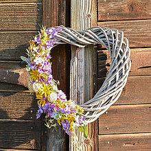 Dekorácie - Celoročné prútené srdce na dvere - 9705681_