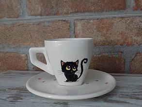 Nádoby - Espresso šálka - Čierny kocúr - 9704541_
