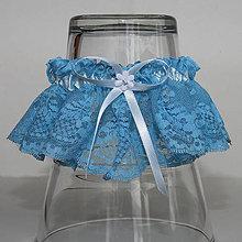 Bielizeň/Plavky - Jemný modrý podväzok zo vzdušnej čipky - 9706463_