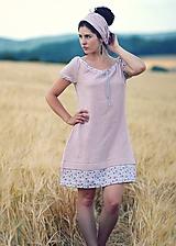 Šaty - Starorůžové fáčové s kytičkami - 9704213_