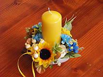 Dekorácie - Dekorácia so slnečnicami so sviečkou - 9704816_