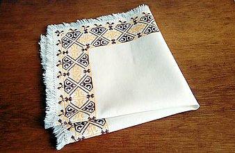 Úžitkový textil - Vyšívané prestieranie - vanilkovo-kakaové - 9704386_