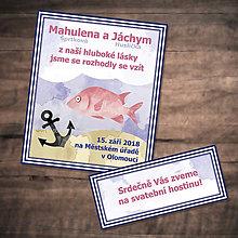 Papiernictvo - Morské svadobné oznámenie - ryba 1 - 9704988_