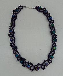 Náhrdelníky - Frivolitkový náhrdelník - 9707825_