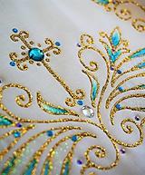 Detské oblečenie - košieľka na krst s ornamentom - modrá/zlatá - 9709281_