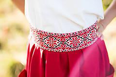 Sukne - Malinová sukňa s krížikovou výšivkou - 9707427_