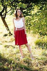 Sukne - Malinová sukňa s krížikovou výšivkou - 9707429_