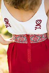 Sukne - Malinová sukňa s krížikovou výšivkou - 9707442_
